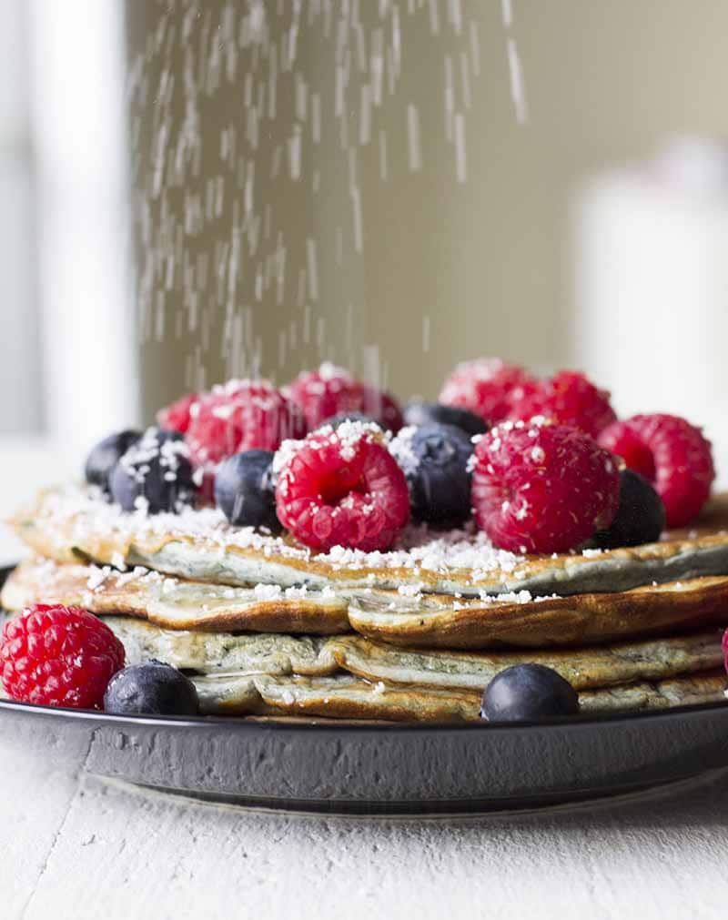 Protein pancakes with berries and sugar free syrup