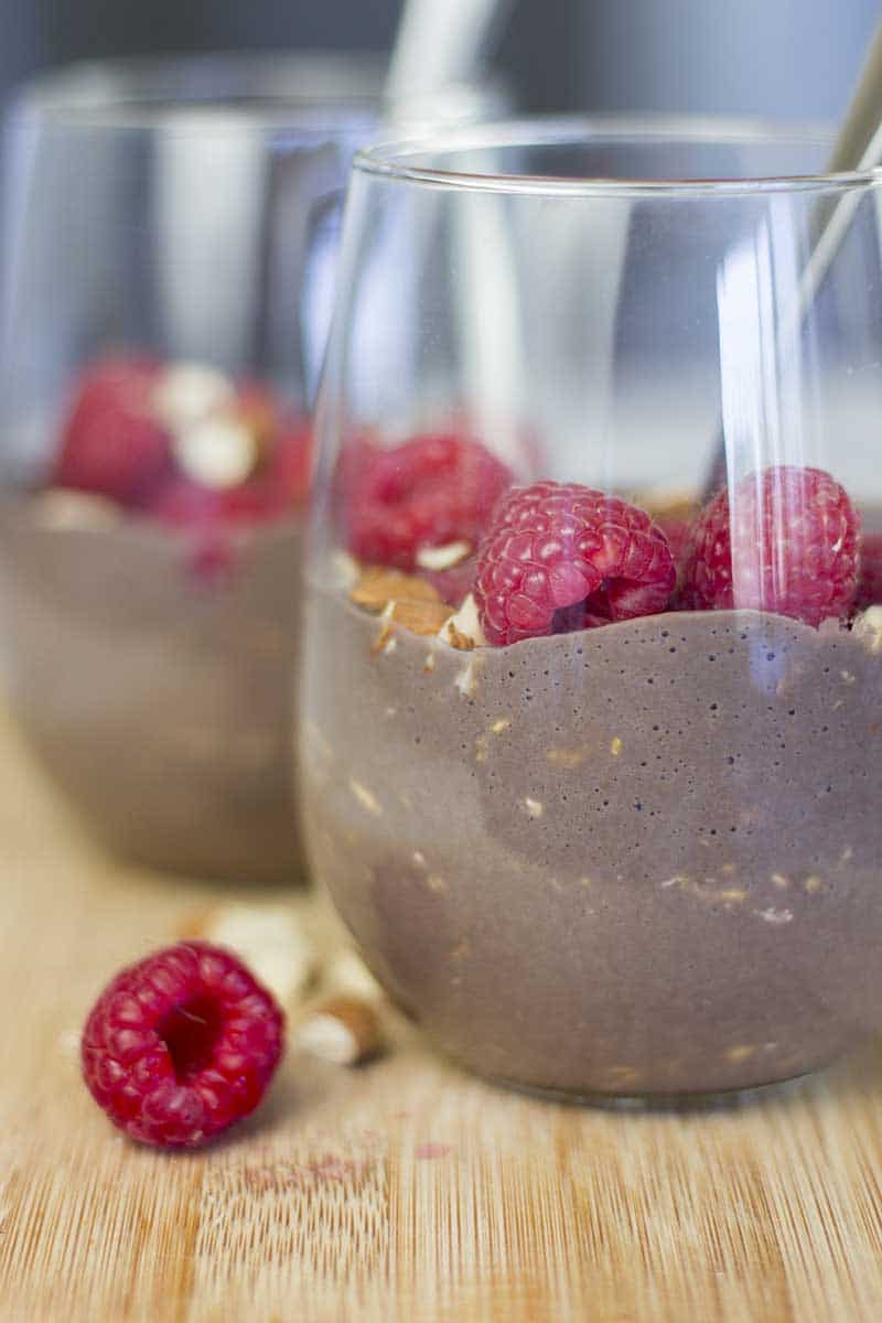 High Protein Chocolate Overnight Oats with Almond Milk