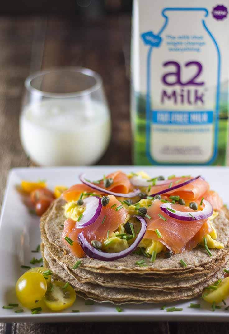 Breakfast Crepes With Smoked Salmon and a glass of milk
