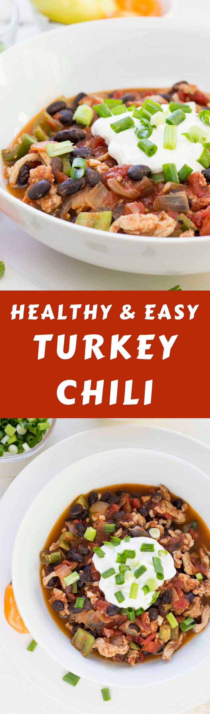 This Simple Turkey Chili recipe should be your dinner tonight! It's high in protein and relatively low in carbs and fat, making it the perfect healthy turkey chili recipe. #turkeychilirecipe