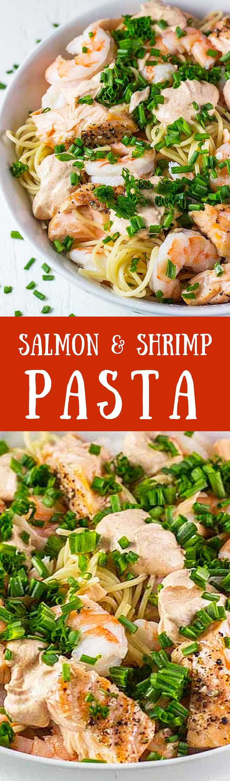 This Salmon & Shrimp Pasta is my favorite easy and healthy pasta recipe. It takes less than 20 minutes to make and is full of delicious protein and healthy fats. #healthyeating #healthyrecipes #salmonrecipes #pastarecipes #shrimp