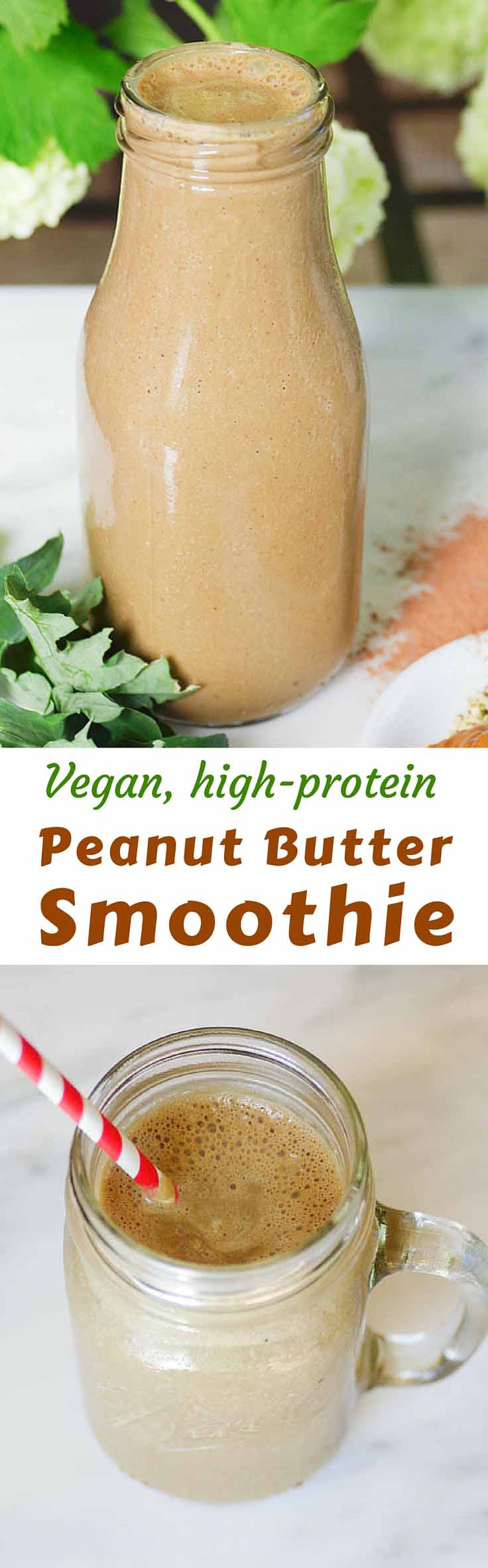When I'm looking for a healthy cool-down after a good workout, this creamy, icy, flavorful Vegan Peanut Butter Protein Smoothie hits the spot. #healthyeating #healthyrecipes #diabetesdiet #diabetesrecipes #diabeticdiet #diabeticfood #diabeticrecipe #diabeticfriendly #vegan #vegetarian #proteinshake