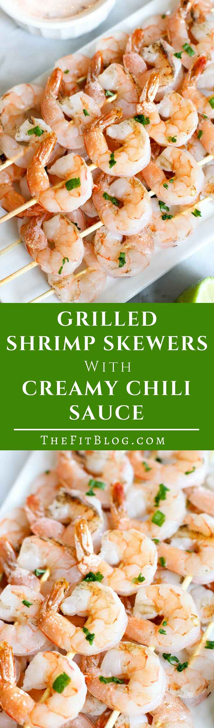 These Grilled Shrimp Skewers with a Creamy Chili Sauce is one of the easiest, healthiest, and tastiest recipes to make on the grill! (high protein, low carb, sugar free, gluten free, diabetes friendly, Paleo)
