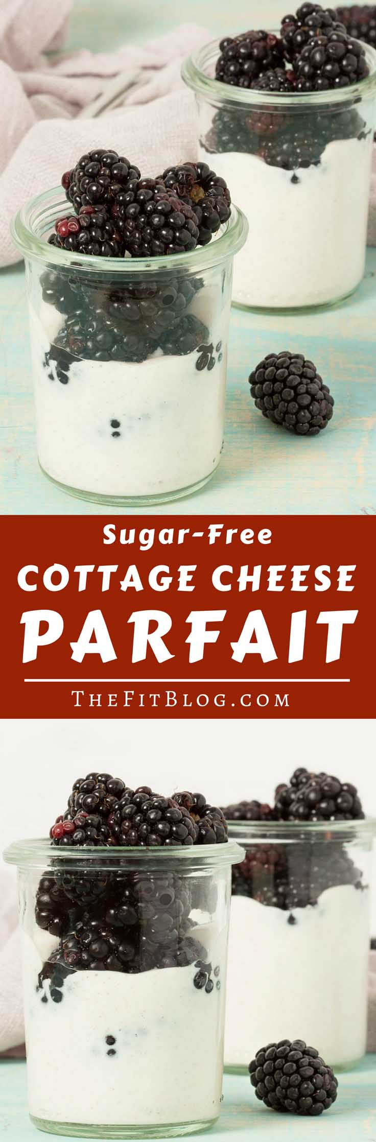 Berries and cottage cheese come together perfectly in this easy and healthy, no sugar added Cottage Cheese Parfait (high protein, diabetes friendly)