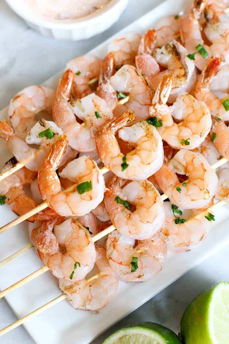 Grilled Shrimp Skewers with Chili Dressing