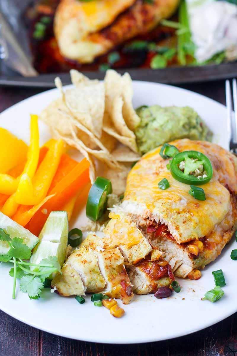 Salsa Stuffed Sheet Pan Chicken