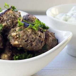 These delicious low-carb, high-protein Bison Meatballs with Homemade Tzatziki are packed with Mediterranean flavors inspired by our many trips to Greece.