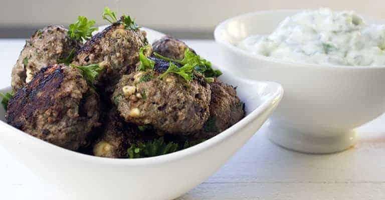 Bison Meatballs with Homemade Tzatziki