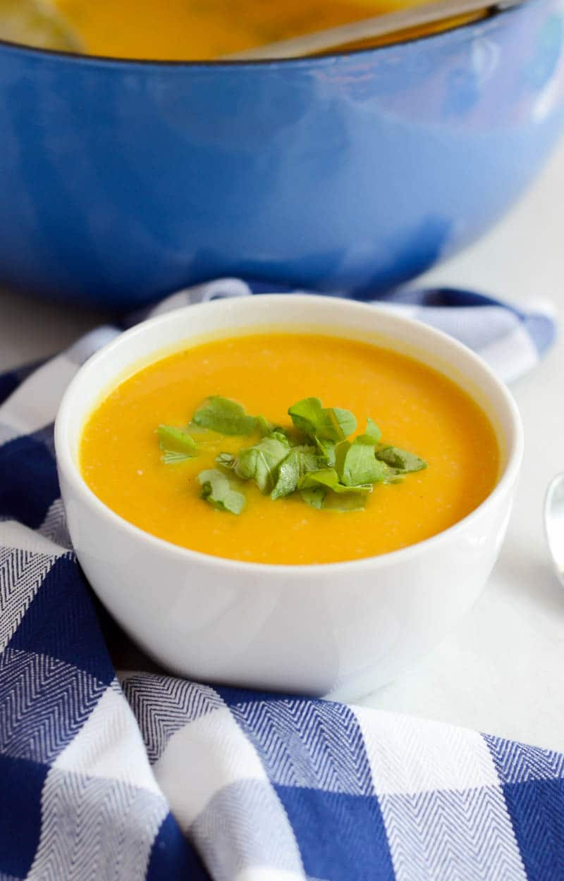 Creamy Kabocha Squash and Cauliflower Soup (Dairy-Free with Vegan Option)