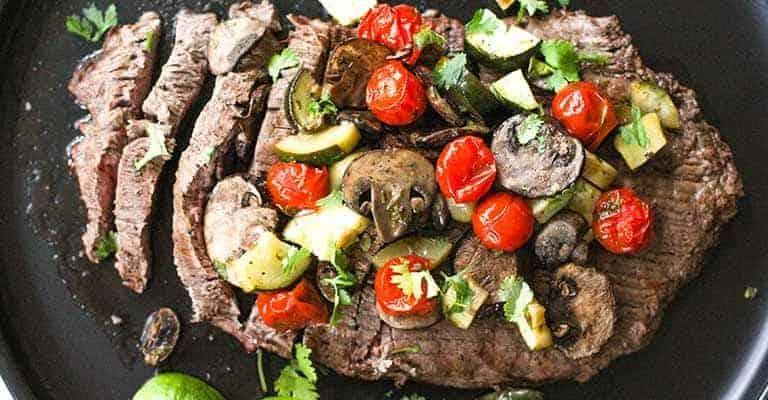 Marinated Flank Steak with Roasted Veggies