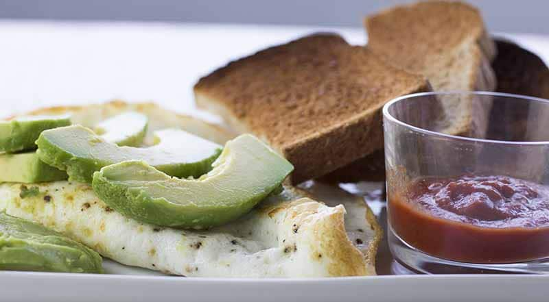 Egg white omelet with avocado and toast