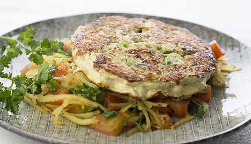 Turkey and avocado patty with spaghetti squash