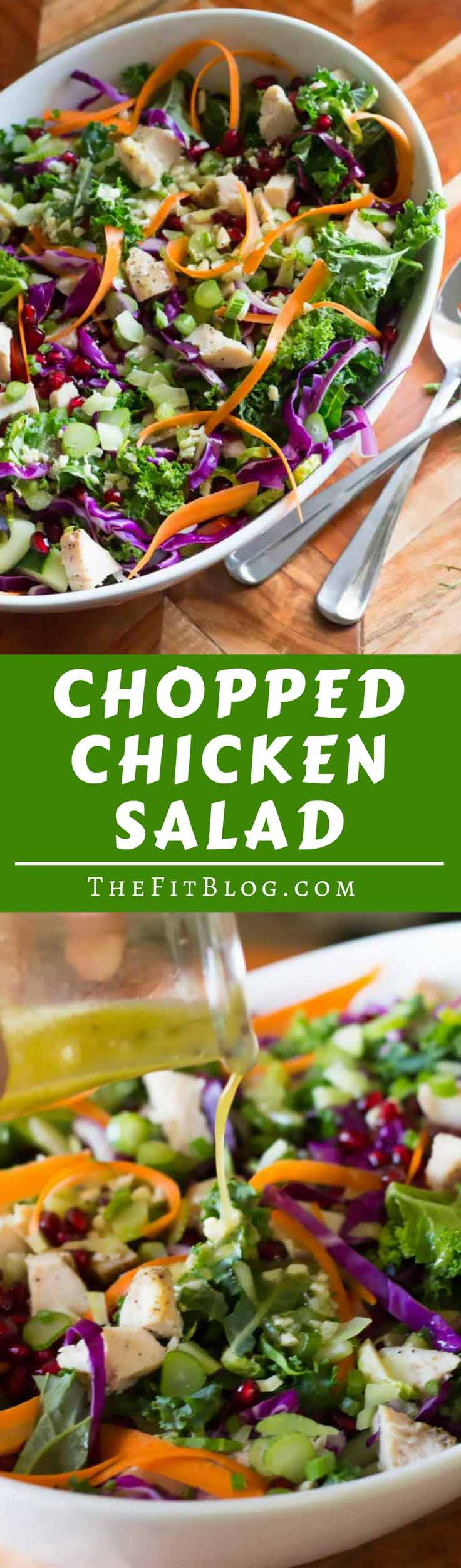 Chopped Chicken Salad utilizes seasonal fruits and vegetables and easy baked chicken to create a hearty, colorful, protein-packed salad! |diabetesstrong.com