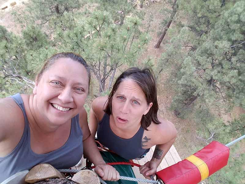 Jennifer & Jenna zip lining